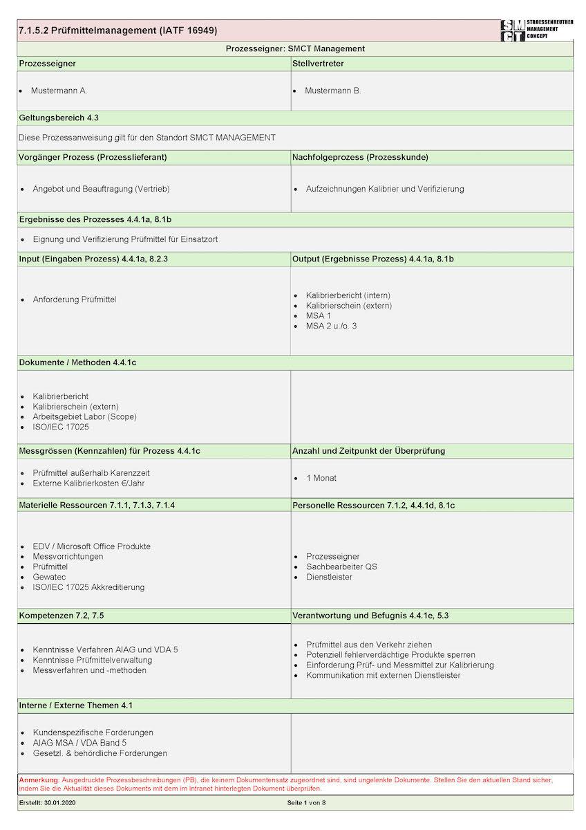 Prozessbeschreibung ISO 9001
